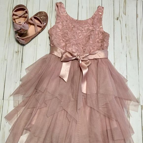 Zunie Dresses Rose Gold Girls Formal Dress And Shoes Poshmark